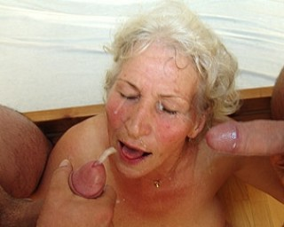 Granny loves two cocks at once to please her